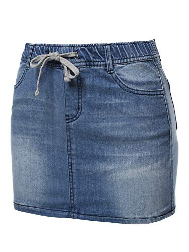 Awesome21 Casual Mini Washed Denim Skirt Medium2 S