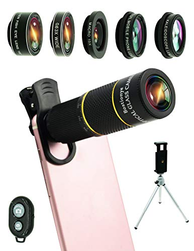 Cell Phone Camera Lens Kit,9 in 1 Universal 22x Telephoto Lens,0.63Wide Angle+15X Macro+198°Fisheye+Kaleidoscope+CPL/Eyemask/Tripod/Remote Shutter,Compatible with iPhone Samsung
