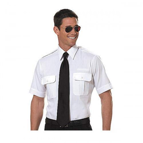 Van Heusen Mens Pilot Shirt - White- Short Sleeve - 14
