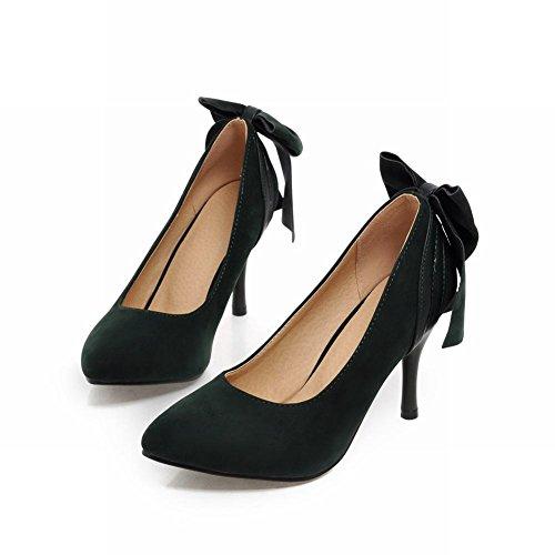Charm Foot Fashion Bows Mujeres High Heel Pumps Zapatos De Vestir Dark Green