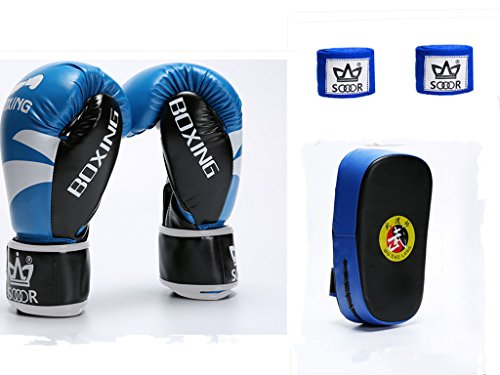 "Shanren Sports Bundle-3 items:Boxing Glove 10oz (1Pair);PU Leather Strike Shield Curved Focus Training Target (1Pc)and 153.5"" Boxing Hand Wraps(1Pair) (blue)"