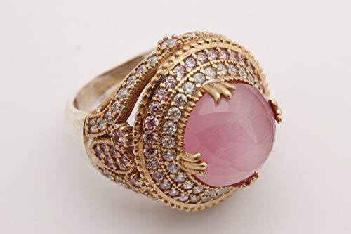 (Turkish Handmade Jewelry Round Shape Pink Cat's Eye Quartz and Round Cut Topaz 925 Sterling Silver Ring Size Option)
