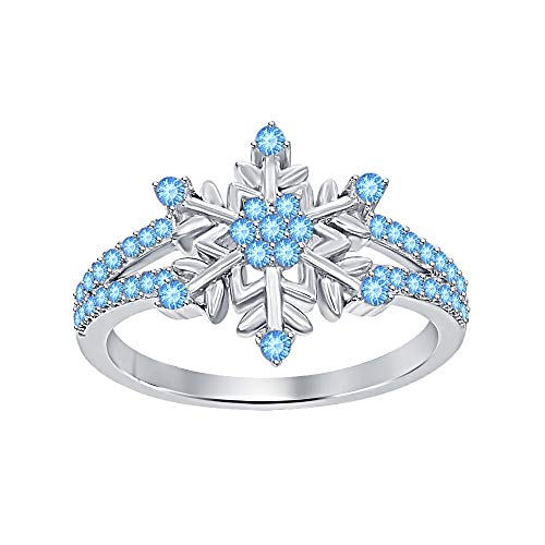 Womens 14K White Gold Plated Round Gemstone Split Shank Flower Design Snowflake Ring 925 Sterling Silver