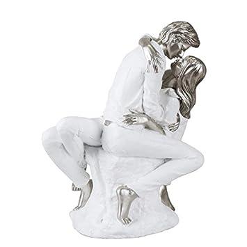 Amazonde Formano Dekofiguren Kiss Küssendes Paar Weiß Silber H