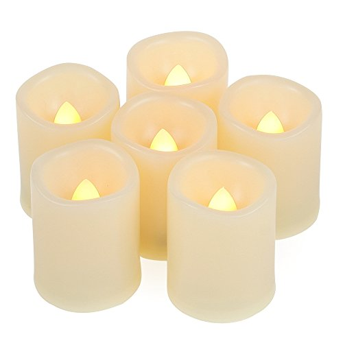 6 400-hr Long Lasting Battery Operated Flameless LED Votive Candles with Timer Realistic Flickering Electric Tea Lights Baptism Wedding Party Decorations Kitchen Home Decor Centerpieces Batteries Incl (Candle Choice Stand)