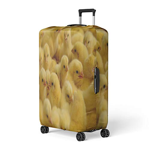 (Pinbeam Luggage Cover Yellow Baby Lot of Little Chickens in Farm Travel Suitcase Cover Protector Baggage Case Fits 26-28 inches)