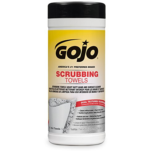 06 Oil Grease - GOJO 6383-06 Scrubbing Wipes, 25-Count Canister