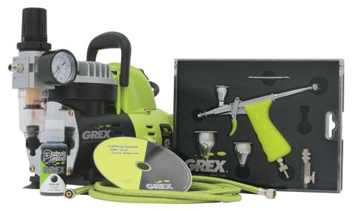 Grex GCK03 Airbrush Combo Kit with Tritium.TG3 Airbrush, AC1810-A Compressor, Accessories and DVD Review