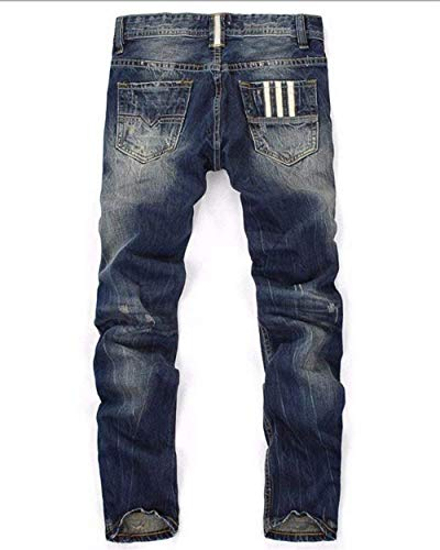 Distrutti Dunkelblau Comodo Da Stretch Pantaloni Battercake Strappati Jeans Ufig Skinny Uomo Vintage Button Denim FBRCw8x