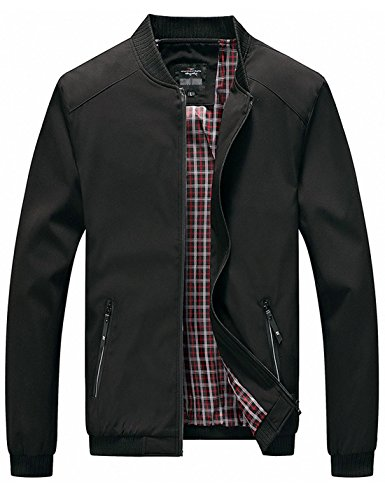 - Tanming Men's Color Block Slim Casual Thin Lightweight Bomber Jacket (Medium, Black-169)