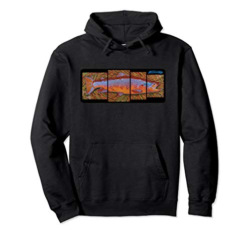 Brown Trout Fish Species Hoodie Derek DeYoung Fisherman Art