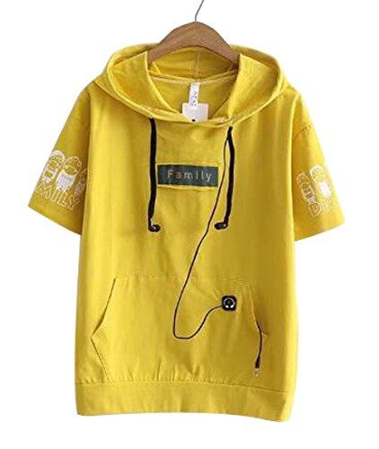 予約胚比率[グードコ] レディース パーカー 半袖 ゆったり トップス Tシャツ フード付き 刺繍 プリント カットソー トレーナー 着痩せ カジュアル BF 学生 森ガール 学院風