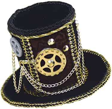 90121ce7d0c Black Steampunk Mini Micro Top Hat with Mechanical Gears Costume Accessory