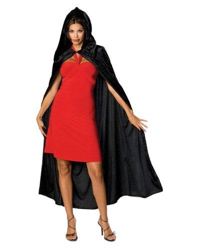 Rubie's Costume Full Length Crushed Velvet Hooded Cape, Black, One Size - Velvet Vampire Adult Womens Costumes