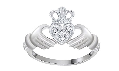 White Natural Diamond Claddagh Ring In 10k Solid White Gold