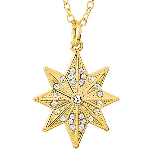Marvel's Captain Marvel Hala Star Yellow Gold Plated Crystal Necklace, 18