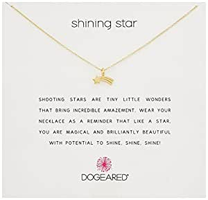 "Dogeared Reminder Shining Star, Shooting Star Gold Chain Necklace, 16"" + 2"" Extender"