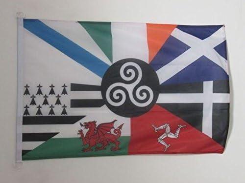 AZ FLAG Bandera Seis Naciones CELTAS 90x60cm Uso Exterior - Bandera Celta - Paises CELTAS 60 x 90 cm Anillos: Amazon.es: Hogar