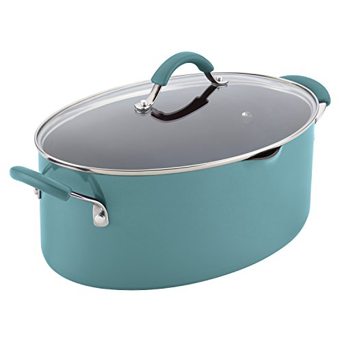 Rachael Ray Cucina Hard Porcelain Enamel Nonstick Pasta Pot, Covered Oval with Spout, 8-Quart, Agave Blue