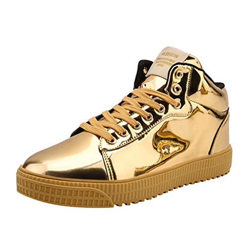 Goddessvan Mens Couples Colorful Mirror Trend Sneakers Nightclubs Sequins High-Top Casual Shoes Gold