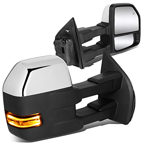 Pair Powered Side Rear View Towing Mirror w/LED Turn Signal+Puddle Light Chrome for 15-18 Ford F150