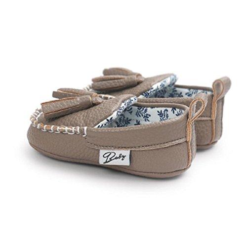 BZLine® Baby Mädchen Jungen weichen Sole Leder Schuh weichen Flats Schuhe Grau
