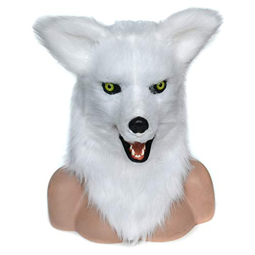HOMCOM White Fox Costume Mouth Mover Mask -