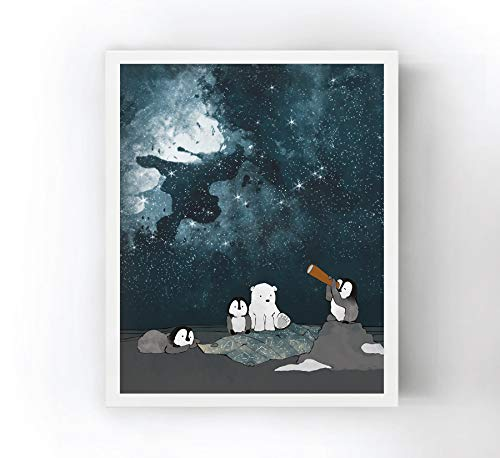11x14 Borderless Matte Heavyweight Paper - Polar Bear and Penguin Stargazing in the Arctic - Nursery Art Print