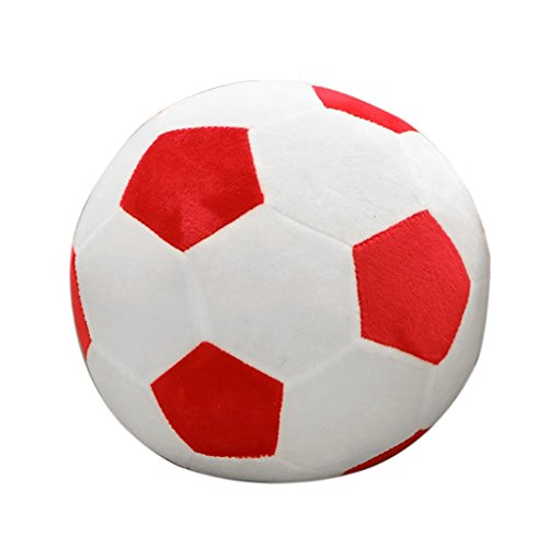 Dabixx Plush Animal Toy, 25cm Football Shape Stuffed Doll Mascot Ball Soccer Plush Toy Kids Baby Gift - Red -