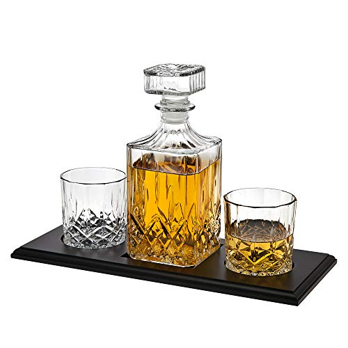 Whiskey Decanter and Glasses Barware Set, for Liquor Scotch Bourbon Wine or Vodka - Includes 2 Whisky Glasses on Wooden Display Tray (Decanter Trays)