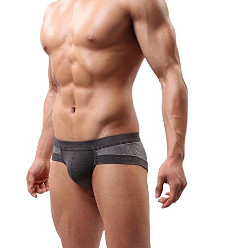 HP95(TM)Men's Bikini Underwear,Trunks Style Men's Briefs Soft Underpants (XL, Gray)