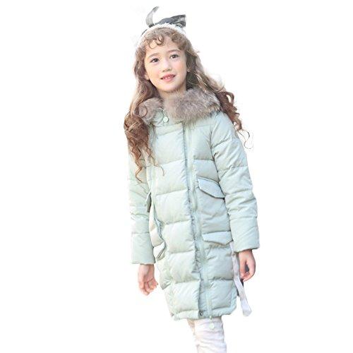 Vert 130cm BININBOX® Filles Longue Doudoune Nouvelle Veste à Capuche Fourrure d'hiver