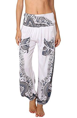 INGEAR Smocked Harem Pants Hippie Bohemian Casual Gypsy Print Yoga Baggy Boho (X-Large, - Pants Stretch White Linen