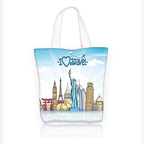 (Canvas Beach Bags Travel Voyager Holiday r with City Landmarks with a Plane Print Totes for Women Zippered Beach Shoulder Bag W11xH11xD3 INCH)