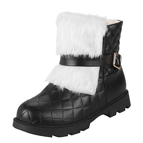 Show Shine Womens Warm Buckles Chunky Heel Snow Boots Black 615GCyp