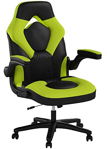 Essentials Racing Style Leather Gaming Chair - Ergonomic Swivel Computer, Office or Gaming Chair, Green (ESS-3085-GRN)