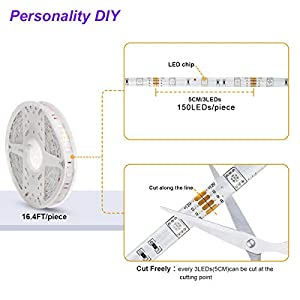 LED Lights,Dalattin LED Strip Lights 16.4ft Waterproof Flexible Color Changing RGB 5050 150leds Multicolor Led Rope Lights with 44 Keys IR Remote Controller and 12V Power Supply for Room Bedroom Home (Color: Multicolor, Tamaño: 16.4ft)
