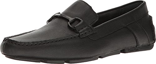 Calvin Klein Men's Mox Weave Emboss Driving Style Loafer, Black, 12 M M US by Calvin Klein