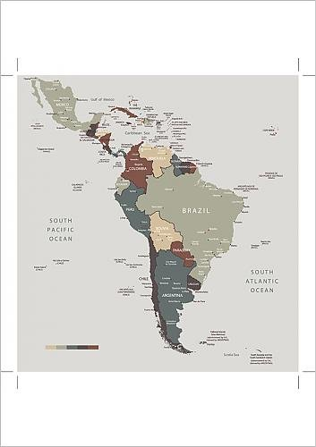 Media Storehouse A1 Poster of South America map countries and cities ...