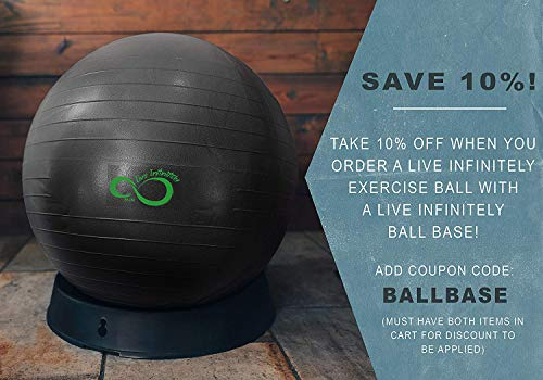Live Infinitely Exercise Ball (55cm-95cm) Extra Thick Professional Grade Balance & Stability Ball- Anti Burst Tested Supports 2200lbs- Includes Hand Pump & Workout Guide Access Grey 95cm by Live Infinitely (Image #6)