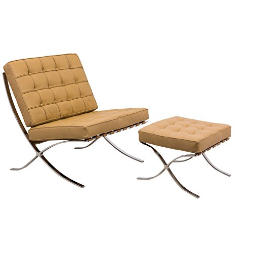 (Melba Modern Lounge Tufted Butttoned Chair & Ottoman, Single, Light Brown Leather)