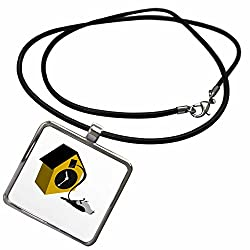 3dRose Cartoon Animal Humor - Image of Gray Cuckoo Bird Falls Out Of Clock - Necklace With Rectangle Pendant (ncl_273377_1)