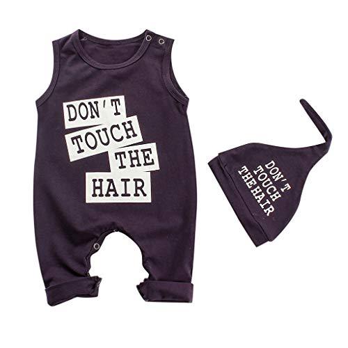 - 2Pcs Baby Girl Boy Clothes Letter Print Bodysuit Cotton Sleevesless Romper +Hat Outfits Set Black