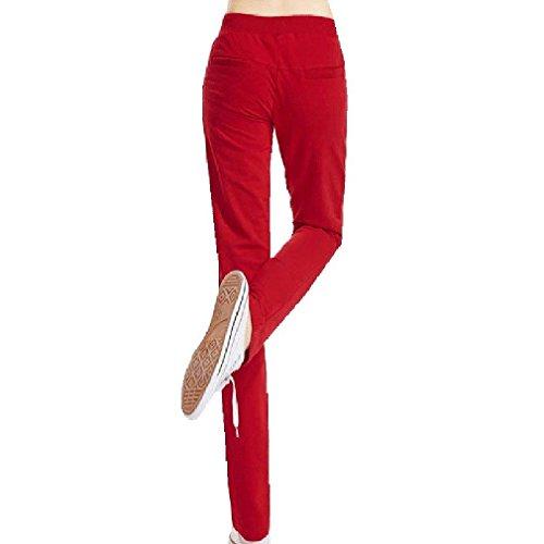Monocromo Tempo Due Rot Jogging Sportivi Women Eleganti Moda Tasche Giovane Donna Grazioso Libero Casual Pantaloni Dei Con Pantalone Slim Coulisse Fit acY1R