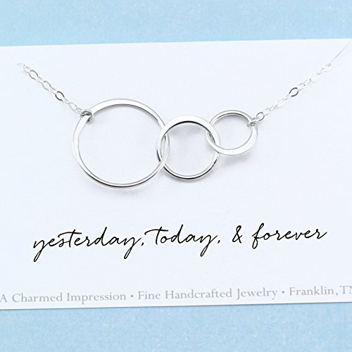Yesterday, Today, & Forever • Sterling Silver • Connected Circles Necklace • Gift for Her • Anniversary • Wife • Girlfriend • Engagement • Past Present Future (Anniversary Presents)