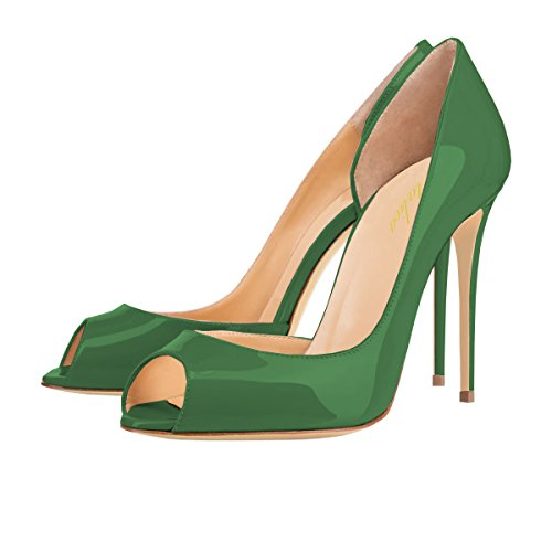 Women Green Pumps Dress Shoes Stiletto 5 Size Toe Slip US 12 Lutalica Heel on Sexy Peep 5 awTqad4
