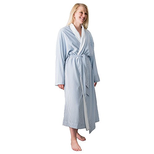 Telegraph Hill DLR-S Luxury Double Layer Soft Microfiber Spa Bathrobe, Small, Seersucker Navy