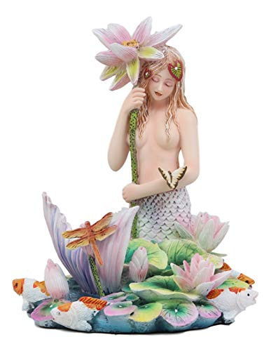 Koi Mermaid - Ebros Sheila Wolk Rainbow Pool Mermaid by Flower Umbrella Dragonfly and Koi Fishes in Pond Statue 6.25