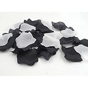 1000PCS Artificial Fabric Flowers Multicolor Rose Petals for Weddings Ceremony Aisle Runner Supplies Table Confetti Black and White Party Decorations 8
