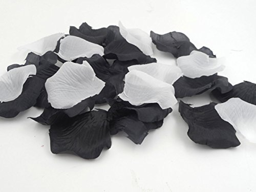 1000PCS Artificial Fabric Flowers Multicolor Rose Petals for Weddings Ceremony Aisle Runner Supplies Table Confetti Black and White Party Decorations